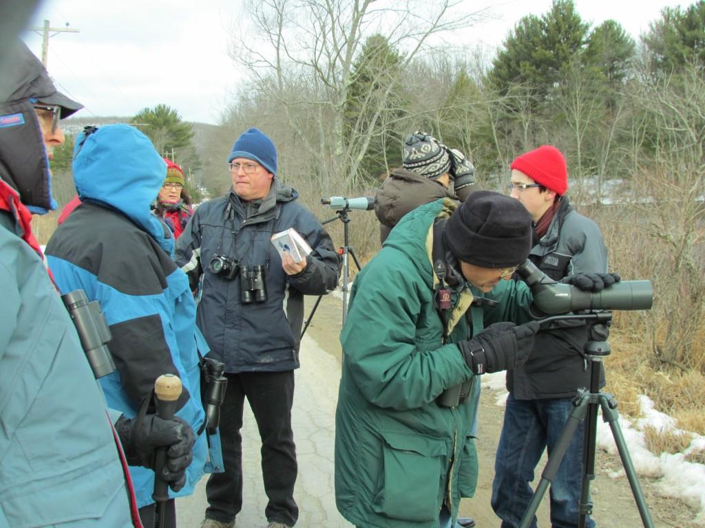 John Haas with the group at his Wonderful Waterfowl Bird Walk, Basha Kill 3/23/13.
