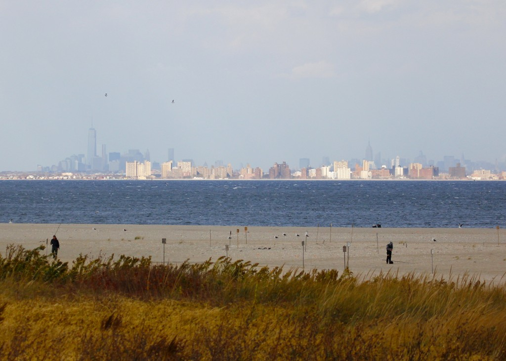 The view of NYC from Sandy Hook. Not a bad way to do some birding!