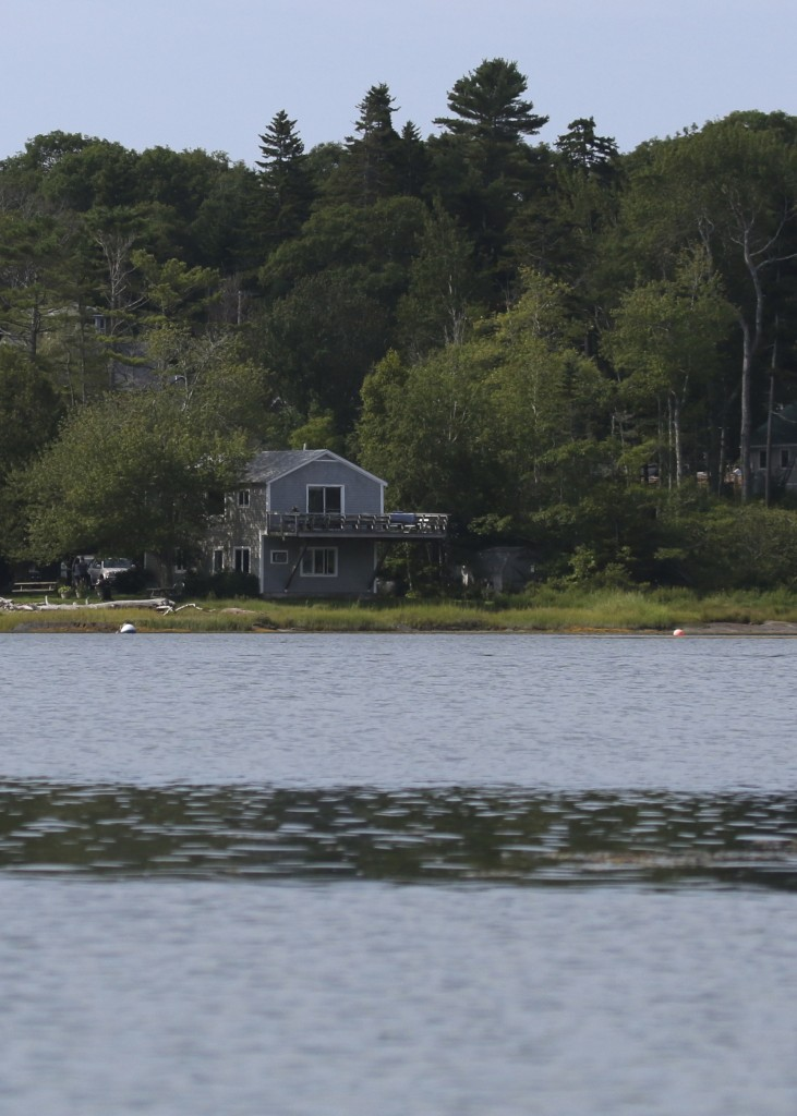 """A view of """"The Osprey's Nest"""" from our kayak, out in Cundy's Harbor, 8/5/14."""